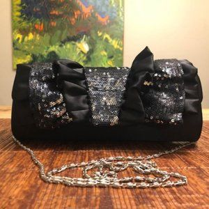 Satin & Sequins Evening Bag with Chain